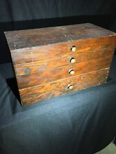 Vintage Wood Four Draw  Specimen Chest Collectors
