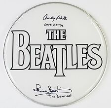 """Pete Best & Andy White THE BEATLES Signed Autograph 12"""" Drum Head Drumhead"""
