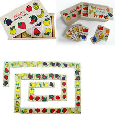Wooden Domino Solitaire Fruit Animal Blocks Puzzle Kids Educational Toys
