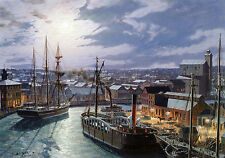 John Stobart Print - Cleveland: West River Street by Gaslight In 1873