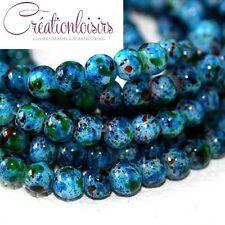 20  perles howlite en verre de diamètre 6 mm - Couleur à effet tacheté +++++