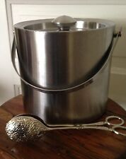 Stainless Steel Ice Bucket Double Wall Restaurant Bar Lid And Tongs
