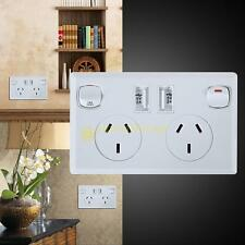 Double USB Australian AU Plug Wall Socket 2 Switch Home Power Point Supply Plate