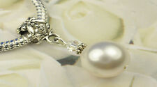 White Crystal Pearl Dangle Charm Bead European Style w Swarovski Elements