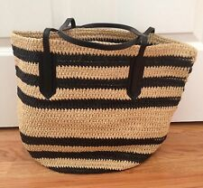 NWT J Crew Paper Straw Striped Farmers Market Tote Bag Black & Natural Straw