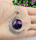 Hot Colorful Galaxy Glass Hollow Moon Shape Pendant Silver Tone Necklace