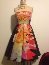 H&M 1950s Style Black Pink Rose Floral Structured Dress Wedding Perfect Sz 6 NWT