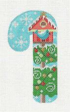 *NEW* MED. Candy Cane Bird House with Bird handpainted Needlepoint Canvas Danji
