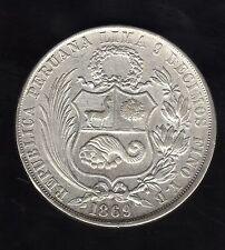 Peru 1 Sol 1869, Silver Very Nice Condition