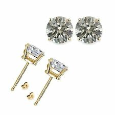3 Carat 7MM Round White CZ 925 Silver Yellow Gold Plated Stud Earrings