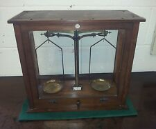 Glass cased brass scales by Philip Harris-no weights : Scientific Instruments