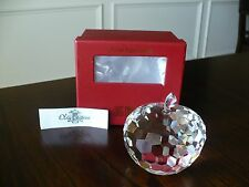 "Oleg Cassini Clear Crystal Apple Paperweight 3"" Signed New"