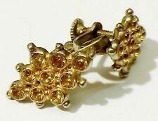 boucles d'oreilles vis ancienne bijou vintage couleur argent cristaux jaune 855