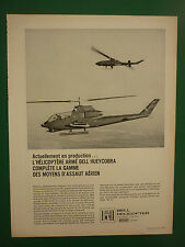 8/1968 PUB BELL HELICOPTER HUEYCOBRA TOW MISSILE ANTI TANK US ARMY FRENCH ADVERT