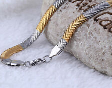 2014 New Women Men's Fashion Necklace Flat Snake Chain Stainless steel 6mm 50cm
