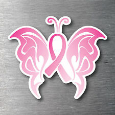 Pink ribbon butterfly breast cancer support sticker 10yr water/ fade proof vinyl