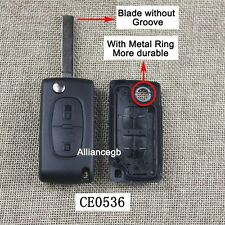 Flip Remote Key case shell Fob For PEUGEOT 207 307 308 407 408 607 With 2 Button