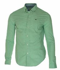 Lacoste Men's Regular Fit Button Front Checkered Shirt Green White Small $110
