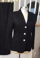 NWT CHAPS Womens 100% Linen Black Blazer Jacket Coat 3 Button Notch 8 $99 NEW