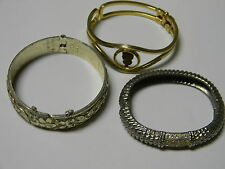 Vtg lot of 3 bangle hinged clamper bracelet  (MORE COSTUME JEWELRY COMING0