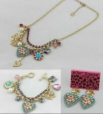 Betsey Johnson Fashion Jewelry Blue Heart Flowers Necklaces Bracelets Earrings