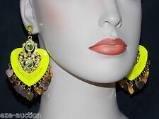 ENAMELED, RHINESTONE NEON YELLOW HEART CHANDELIER EARRINGS WHOLESALE PRICE