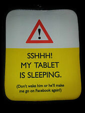 Funny Universal ipad tablet cover case 'Sshhh! My tablet is sleeping'.....New