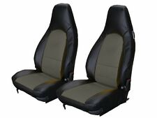 PORSCHE 911 928 944 968 BLACK/CHARCOAL LEATHER-LIKE CUSTOM MADE FRONT SEAT COVER