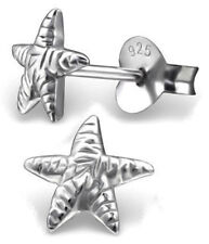 PAIR OF STERLING SILVER 925 SMALL STARFISH EARRINGS / EAR POSTS / STUDS, 7 MM