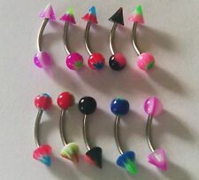 10pcs Different 16G Curved Barbell Spike & Ball Eyebrow Bars Rings UK Seller