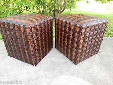 PAIR Pier 1 Imports Ottomans Bench 2 foot Stool Bed End Rest Faux Wicker Bamboo