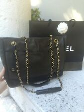 CHANEL black Leather And Kaki Coated Canvas Tote $3200!!