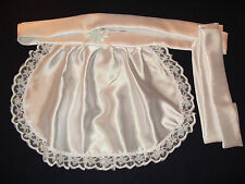 MAIDS/SISSY/ADULT BABY/FETISH SATIN APRON WITH RIBBON & LACE TRIM