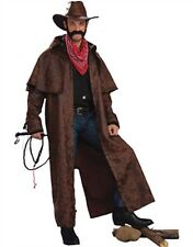 Adult Cowboy Faux Leather Printed Brown Duster Jacket