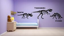 Dinosaure squelette triceratops t-rex wall art autocollant kit decal boy's chambre à coucher