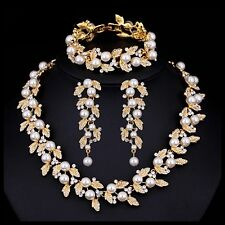 Bridal Wedding Necklace Earring Bracelet Set Clear Crystal Leaf Ivory Pearl Gold