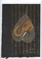 Original Ink and Oil with Bodhi Leaf - Elephant    Vientiane Laos       BL26