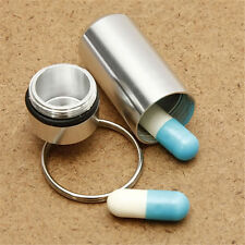 Keyring Tablets Medicine Container Pill Box Aluminium Key Chain Drug Holder