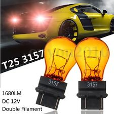 2x T25 3157 Amber Yellow Glass Halogen Brake Stop Light Turn Signal Lamp Bulb