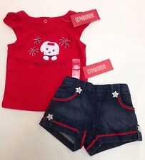 NWT Gymboree 4th of July 6-12 Red White & Cute Dog Tee Star Button Denim Shorts
