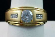 Stunning Gold Accented Sterling Silver Unisex Ring Clear Gemstones Sz 10.75