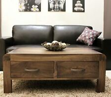 Shiro solid walnut living room furniture storage coffee table with drawers