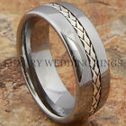 Mens Tungsten Ring Wedding Band Silver Inlay Titanium Color Size 6-13