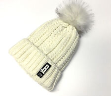 Winter Womens Beanie Hat Cable Knitted Faux Fur Pom Pom Beanie Hat