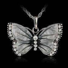 Butterfly Animal Crystal Rhinestone Silver Plated Pendant Necklace Long Chain