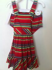 Ralph Lauren Infant Girls Dress with Bloomers Red Serape Stripe Size 12M NWT