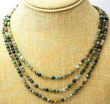 New fashion 3 rows Natural 4MM Multicolor India Agate Round Gemstone Necklace AA