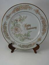 ENESCO JAPAN 1983 HAPPY 50TH ANNIVERSARY WISHES GOLD ROSE PLATE