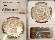 Dominican Rep. 1939 Peso, Rare High Grade  NGC 58, Sharp Detail, Luster Field
