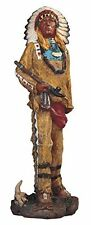 8.5 Inch Native American Indian Warrior Chief w/ Pipe Statue Figurine North
